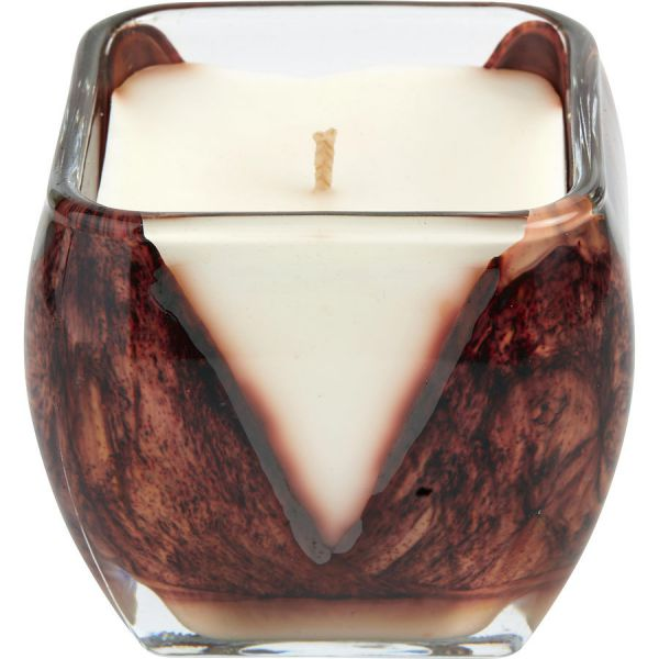 FIRE CASCADE CANDLE THE INSIDE OF THIS 4 inch GLASS CANDLE IS PAINTED WITH WAX TO CREATE SWIRLS OF GOLD AND RICH HUES. CANDLE IS FILLED WITH A TRANSLUCENT WAX AND SCENTED WITH SWEET CREAMY ALMOND WITH BAKED CITRUS COCONUT VANILLA. BURNS APPROX. 40 HRS