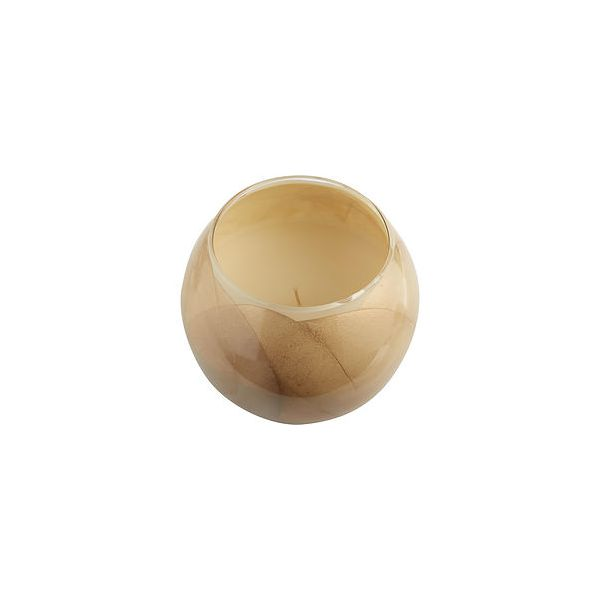 IVORY CANDLE GLOBE THE INSIDE OF THIS 4 in POLISHED GLOBE IS PAINTED WITH WAX TO CREATE SWIRLS OF GOLD AND RICH HUES AND COMES IN A SATIN COVERED GIFT BOX. CANDLE IS FILLED WITH A TRANSLUCENT WAX AND SCENTED WITH MYSTERIA. BURNS APPROX. 50 HRS