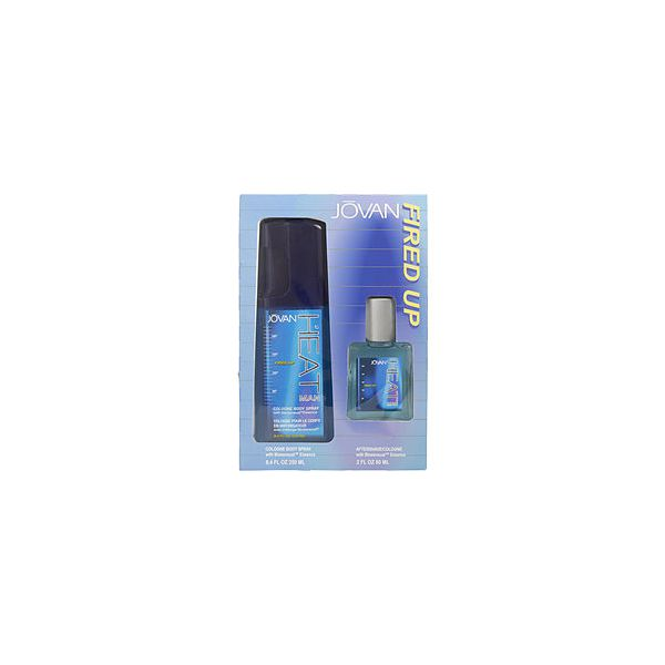 JOVAN HEAT MAN FIRED UP COLOGNE BODY SPRAY 8.4 OZ & AFTERSHAVE COLOGNE 2 OZ