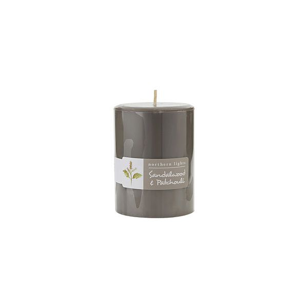 SANDALWOOD & PATCHOULI ONE 3x4 inch PILLAR CANDLE.  BURNS APPROX. 80 HRS.