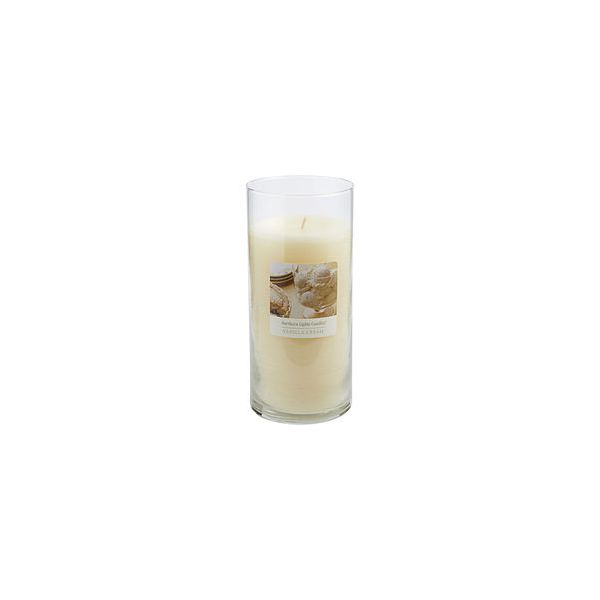 VANILLA CREAM SCENTED ONE 7.5 inch GLASS PILLAR SCENTED CANDLE.  COMBINES SWEET CREAMY VANILLA AND COCONUT TO CREATE A DELIGHTFUL FRAGRANCE. BURNS APPROX. 110 HRS.