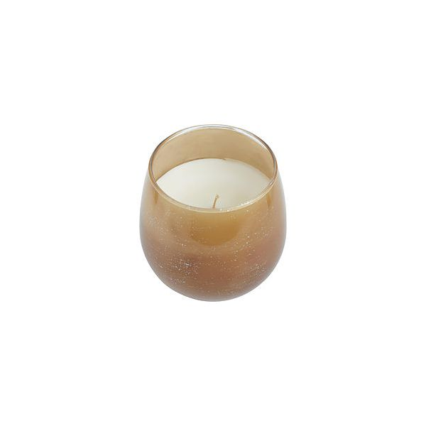 VANILLA OUD ONE 4x4 inch ARTISAN CANDLE.  WAX PAINTED VESSEL WITH SUBTLE FLECKS OF SILVER. BURNS APPROX. 40 HRS.