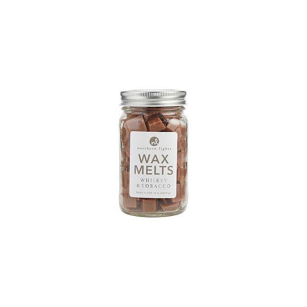 WHISKEY & TOBACCO SCENTED SIMMERING FRAGRANCE CHIPS - 8 OZ JAR CONTAINING 100 MELTS